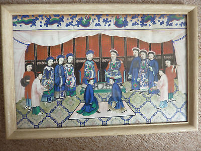 Antique 19th Century Chinese canton Rice paper Painting