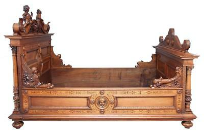 19Th Century Italian Carved Walnut Inlaid Bed