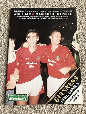 Wrexham v Manchester United Programme - European Cup Winners Cup 1990 *VGC*