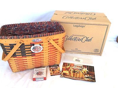 MAGAZINE Basket Protector Liner Tie On Collector Club FLAG Longaberger New B