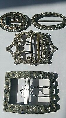 Antique Job Lot Of Silver And Paste Buckles