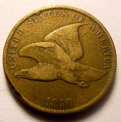 1858 Flying Eagle Cent SL Error Rim Cud Nice  FREE SHIPPING AA4