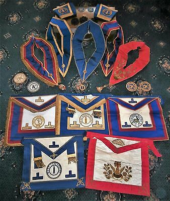 Masonic Lancashire Lodge Collection Sash's Aprons & Cuffs Jewels Medals in Case
