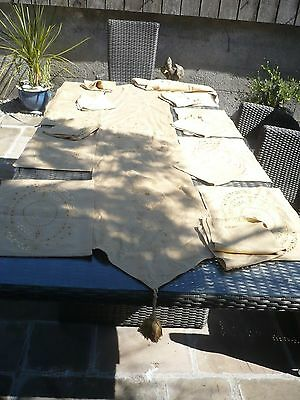 Laura Ashley Gold embroidered table mats x 8,napkins x7,table runner,tablecloth