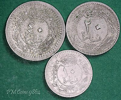 Turkey coin collection 1909 (AH 1327) 10, 20 & 40 para coins *[9864]