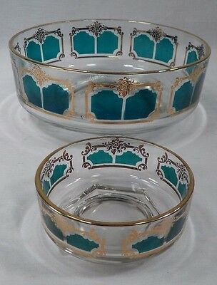 Nice 1960s Swinging Jeanette Glass Green & Gold Florentine Chip & Dip Bowl Set