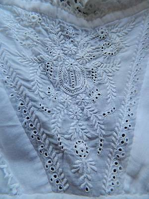 Antique Victorian white baby doll's long Christening dress Ayrshire embroidery