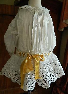 Antique Edwardian short cotton toddlers drop waist dress -  embroidery & ribbons