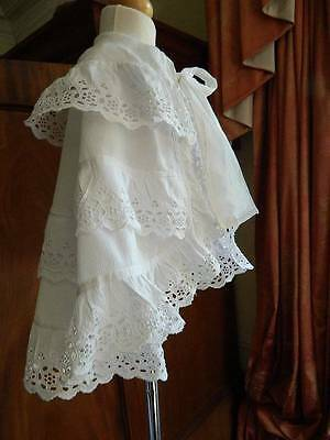 Antique Victorian white cotton baby or doll's Christening cape Layers Swiss lace