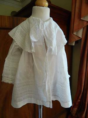 Antique Victorian summer cotton baby or doll's Christening coat  Swiss lace