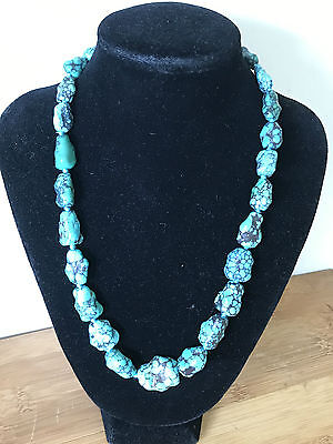 Vintage Chinese Genuine Turquoise Nugget Necklace Silver Clasp