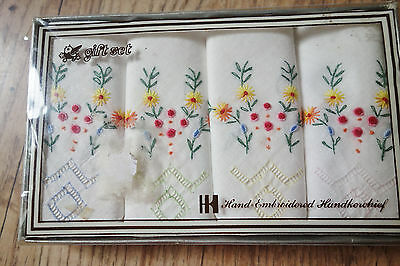 boxed set of vintage hand embroidered hankies