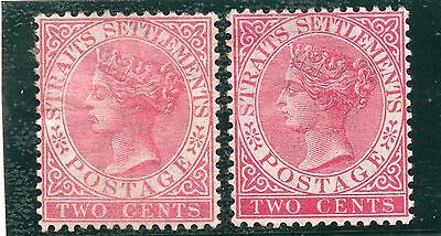 Straits Settlements  1883 2c pale rose and 2c rose. SG 63 and 63a mint. Cat £63