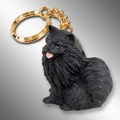 POMERANIAN Black Dog Tiny One Resin Keychain Key Chain Ring