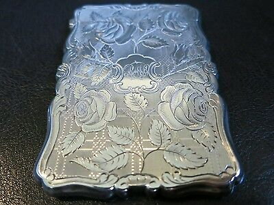 Excellent Antique Solid Silver Card Case Nathaniel Mills 1848