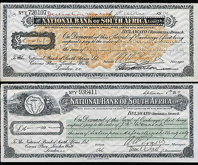 Rhodesia 1919 2 Cheques National Bank Of South Africa Bulawayo Branch.  A308