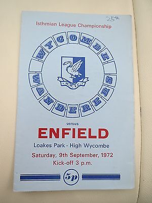 Wycombe Wanderers V Enfield  1972/3