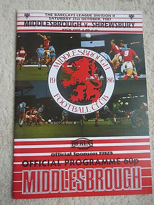 Middlesbrough V Shrewsbury  1987/8
