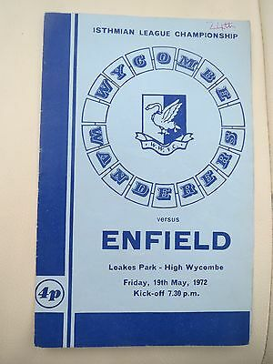 Wycombe Wanderers V Enfield  1971/2