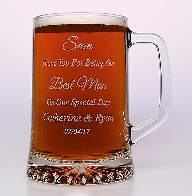 Personalised BEST MAN Wedding Pint Tankard Glass Gift For Usher/Groomsman