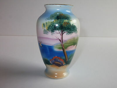 Antique Vintage Noritake Lake Scene Vase  (ref 1412)