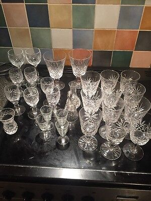 Set Of Crystal Glasses (Wine, Port, Whiskey, Liquer, Brandy, Bell, Short, Shot)