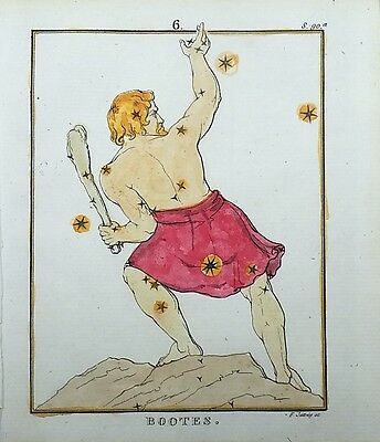 1830 Rockstroeh - BOOTES - handcolored CELESTIAL Astronomy CHART