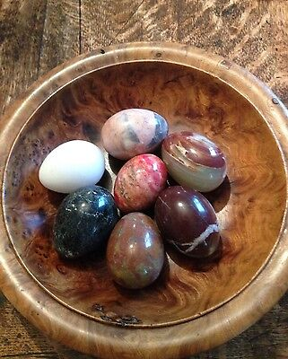 A set of 7 marble eggs