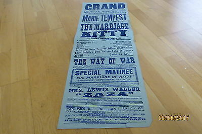 Marie Tempest 'The Marriage Of Kitty' Birmingham Poster 1903