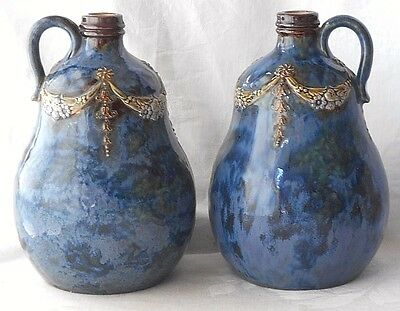 A Good Pair Of Late C19Th Royal Doulton Stoneware Ewers