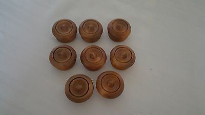Lot 8 Antique Victorian Solid Walnut Wood Round Drawer Pulls Knobs from 1950's