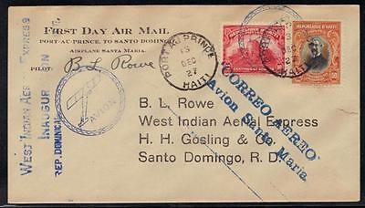 Haiti 1927 Early Airmail W. Indian Aerial Express Fdc Port-Au-Prince Puerto Rico