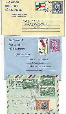 Ethiopia 1952 Three Uprated Air Letters Add Is Abeba Different Cancels & Frankin