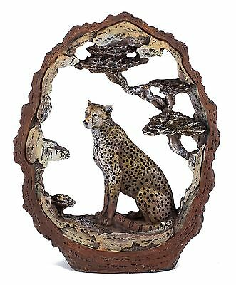 "Leopard Cheetah Carved Wood Look Bark Frame Figurine Resin 6.5""H New In Box!"