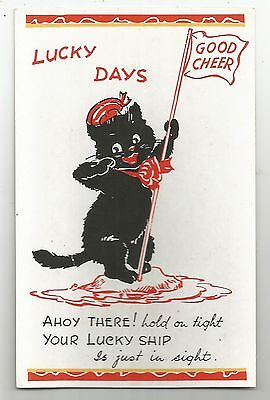 re d animals lucky black cat cats kittens pets postcard animal
