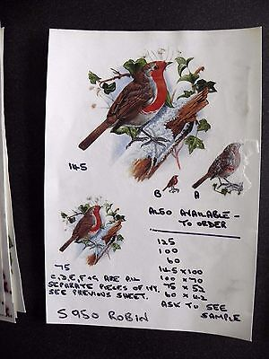 2 Ceramic Decal Sample Sheets that have stuck together - Robins