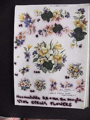 4 Ceramic Decal Sample Sheets - Spring Flowers