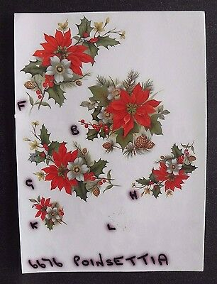 2 Ceramic Decal Sample Sheets - Poinsettia
