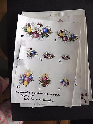 12 Ceramic Decal Sample Sheets that have stuck together - Mainly Flowers