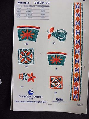 2 Ceramic Decal Sample Sheets  - Olympia & Pigs and Cockerels