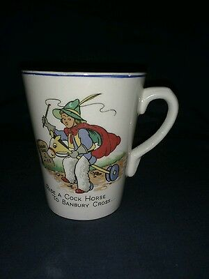 Vintage Childs Pottery Mug, Ride a C**k Horse to Banbury Cross, No Maker.