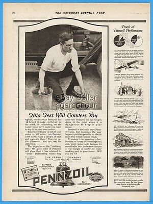 1924 Pennzoil Motor Oil City PA Mechanic Compare At 1,000 Miles Vintage Ad
