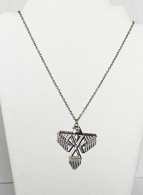 Fine Vintage Cable Chain Necklace With Eagle Pendant In Shiny Silver Tone Metal