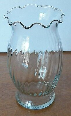 Fine Vintage Bluish Clear Vase With Scalloped Opening And Inner Ribbed Finish