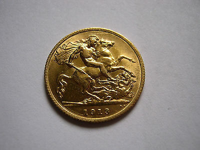 1913 GEORGE V 22ct GOLD HALF SOVEREIGN COIN
