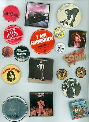 19 Vintage 1970s-80s Rock & Roll Music Groups Promotion Pinback Buttons - AC/DC