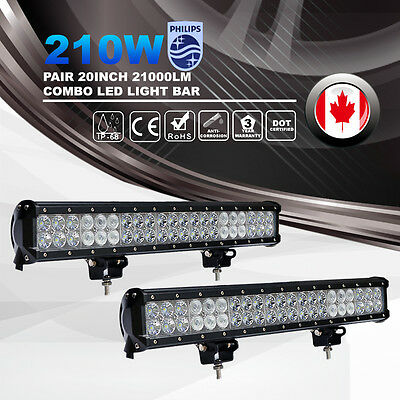 "2X 20"" Inch 210W Philips LED Light Bar Offroad 4WD Truck Combo Beam Work Driving"