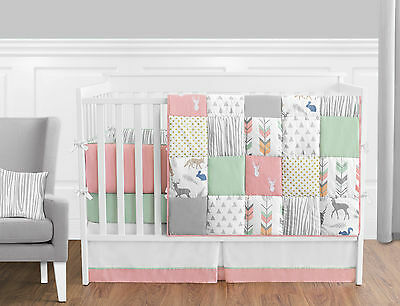 Sweet Jojo Grey White Gold Polka Dot Arrow Newborn Girls Baby Crib Bedding Set