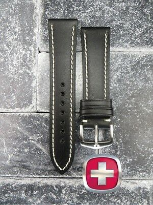 23mm VICTORINOX SWISS ARMY LEATHER STRAP Band Infantry Vintage Chronograph Black