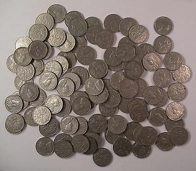 Lot of 100 King George V CANADA NICKEL 5 cent coins